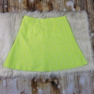 Neon Yellow Square Patterned Skirt Size 0 J.Crew